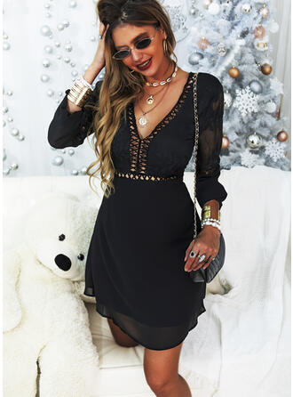 Lace/Solid Long Sleeves A-line Above Knee Little Black/Sexy/Party Skater Dresses