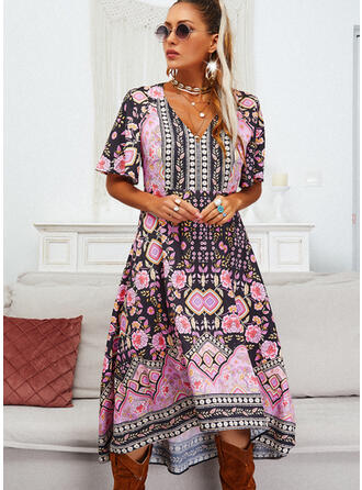 Print/Floral 1/2 Sleeves/Flare Sleeves A-line Asymmetrical Casual Skater Dresses