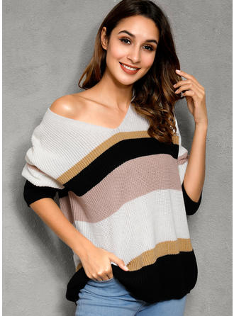 Color Block Chunky knit V-Neck Sweaters