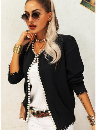 Solid Beaded Round Neck Casual Cardigan
