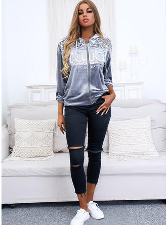 Sequins Long Sleeves Print Letter Jackets