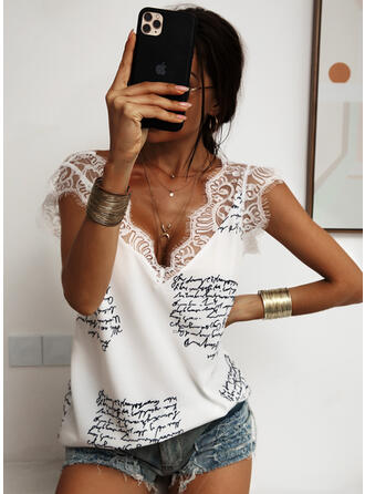 Print Patchwork Lace V-Neck Sleeveless Casual Sexy Tank Tops