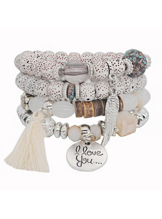 Unique Alloy Silver Plated Acrylic Wooden Beads Ladies' Fashion Bracelets