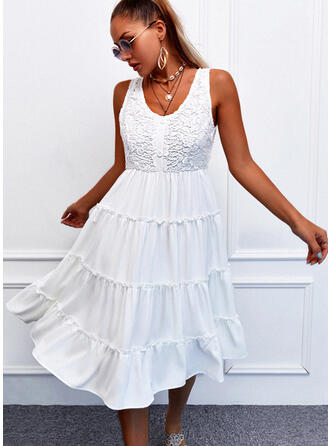 Lace/Solid Sleeveless A-line Knee Length Casual Skater Dresses