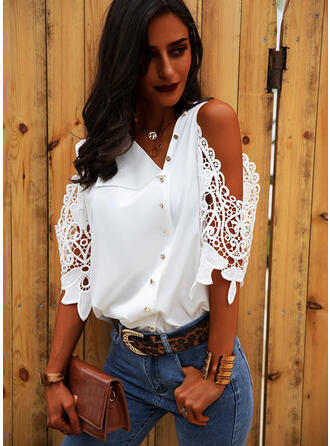 Solid Lace Cold Shoulder 3/4 Sleeves Button Up Blouses