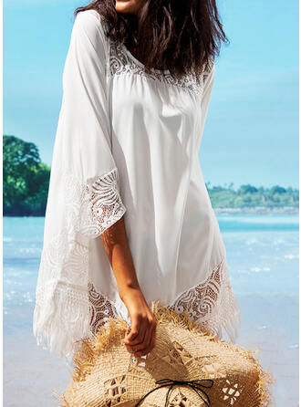 Solid Color Round Neck Sexy Cover-ups Swimsuits