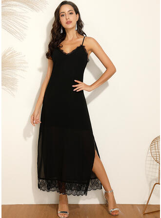 Lace/Solid Sleeveless Shift Little Black/Casual/Vacation Maxi Dresses