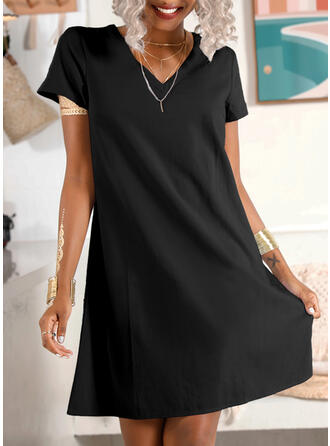 Solid Short Sleeves Shift Knee Length Casual/Vacation T-shirt Dresses