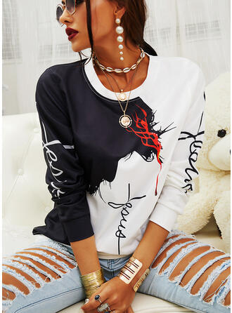 Color Block Figure Round Neck Long Sleeves Casual Blouses