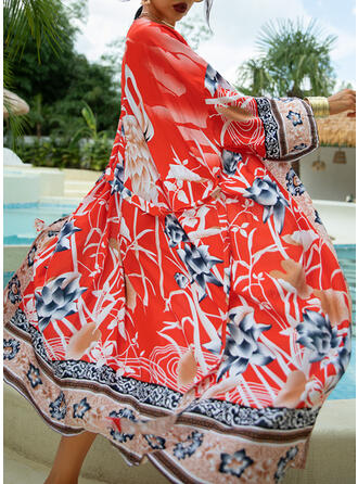Floral Tropical Print V-Neck Bohemian Cover-ups Swimsuits