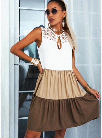 Lace/Color Block Sleeveless Shift Above Knee Casual Dresses