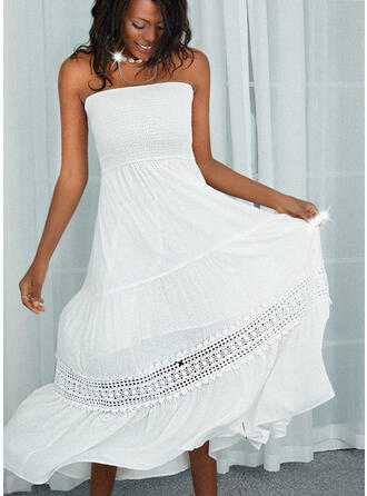 Lace/Solid Sleeveless A-line Skater Casual Maxi Dresses