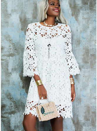 Solid/Hollow-out 3/4 Sleeves/Flare Sleeves Shift Above Knee Elegant/Vacation Dresses