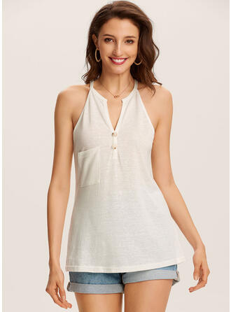Solid V-Neck Sleeveless Casual Sexy Knit Tank Tops