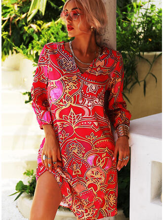 Print 1/2 Sleeves Shift Knee Length Casual/Vacation Tunic Dresses
