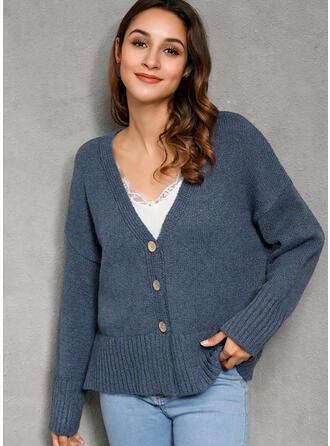 Solid Cable-knit Chunky knit V-Neck Cardigan