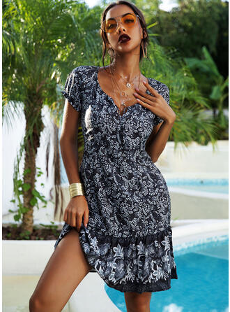 Print Short Sleeves A-line Knee Length Casual/Boho/Vacation Dresses