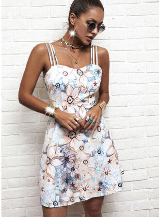 Print/Floral/Backless Sleeveless A-line Above Knee Casual/Vacation Slip/Skater Dresses