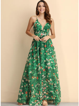 Print/Floral Sleeveless A-line Casual/Party/Boho/Vacation Maxi Dresses