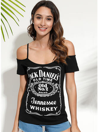 Print Cold Shoulder Short Sleeves Casual Sexy Blouses