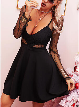 Lace/Solid Long Sleeves A-line Above Knee Little Black/Sexy Skater Dresses