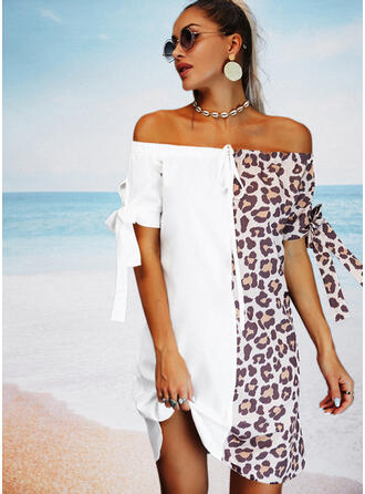 Color Block/Leopard 1/2 Sleeves Shift Above Knee Casual/Vacation Tunic Dresses