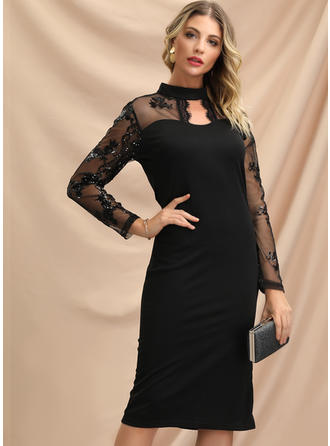 Lace Long Sleeves Bodycon Knee Length Little Black/Party/Elegant Dresses