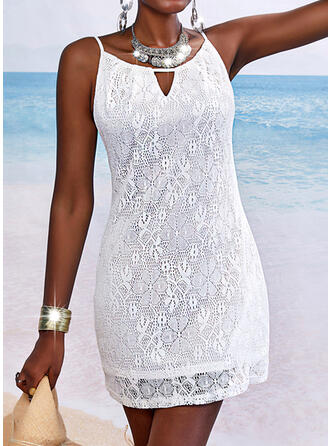 Lace/Solid Sleeveless Sheath Above Knee Casual/Vacation Slip Dresses