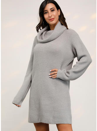 Solid Cable-knit Chunky knit Turtleneck Sweater Dress