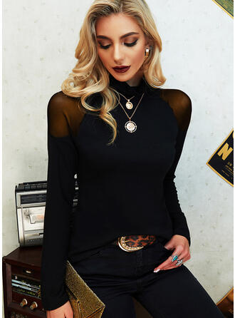 Solid High Neck Long Sleeves Elegant Blouses
