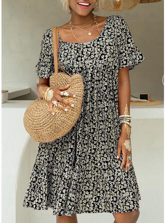 Print/Floral/Backless 1/2 Sleeves Shift Knee Length Casual Dresses