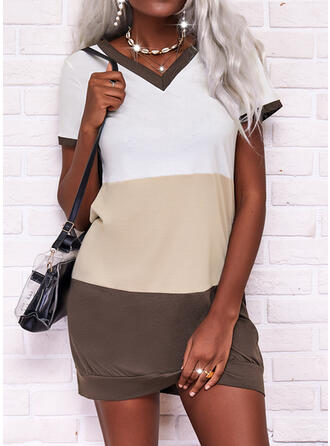 Color Block Short Sleeves Shift Above Knee Casual T-shirt Dresses