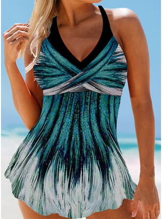 Cross Gradient Halter Eye-catching Casual Swimdresses Swimsuits