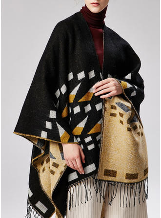 Geometric Print Oversized/attractive Poncho