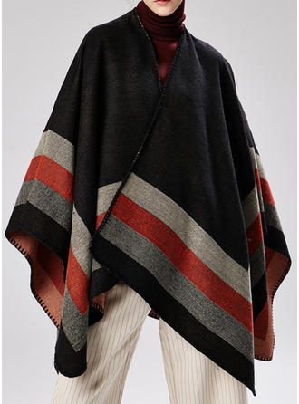 Striped/Color Block Oversized/attractive Poncho