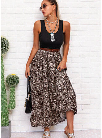 Leopard Sleeveless A-line Skater Casual/Vacation Maxi Dresses