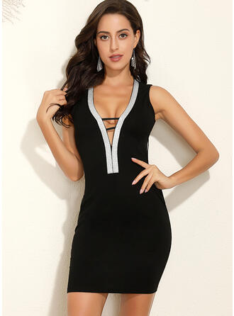 Color Block Sleeveless Bodycon Above Knee Sexy/Party Dresses