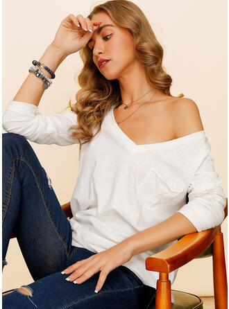 Solid Basic V-Neck Long Sleeves Casual Knit T-shirts