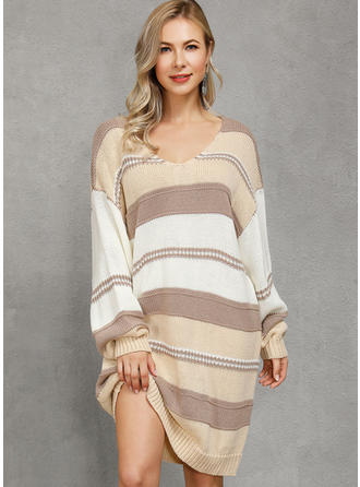 Color Block Cable-knit Chunky knit One Shoulder Sweater Dress