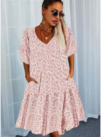 Leopard 1/2 Sleeves/Flare Sleeves Shift Above Knee Casual Tunic Dresses