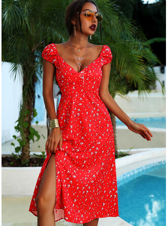 Print Cap Sleeve A-line Above Knee Sexy/Vacation Skater Dresses