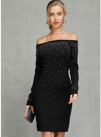 Sequins/Solid Long Sleeves Bodycon Above Knee Sexy/Casual Dresses