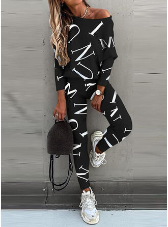 Letter Print Sporty Casual Tee & Pants Two-Piece Outfits Set