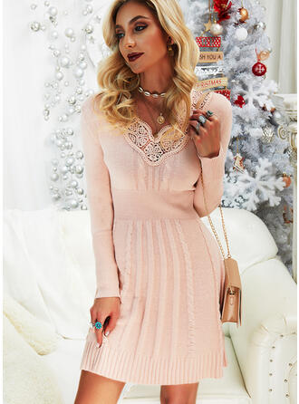 Solid Cable-knit Lace V-Neck Casual Long Sweater Dress