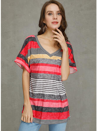 Color Block Striped V-Neck Short Sleeves Casual Knit T-shirts