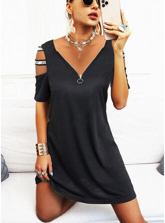Solid Sequins Short Sleeves Cold Shoulder Sleeve Shift Above Knee Casual Tunic Dresses