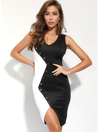 Color Block Sleeveless Bodycon Knee Length Party Dresses