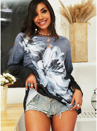 Print Floral Gradient Round Neck Long Sleeves Sweatshirt