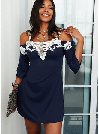 Lace 3/4 Sleeves/Flare Sleeves Sheath Above Knee Casual Dresses
