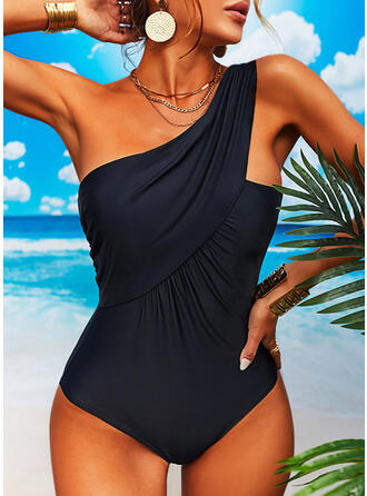 Solid Color Ruffles One-Shoulder Sexy Elegant Classic One-piece Swimsuits